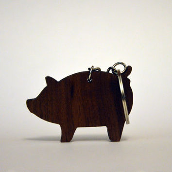 Pig Wooden WALNUT keychain