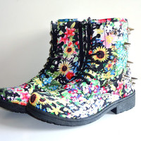 Spiked Combat Boots--Floral Print