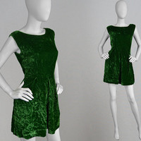 Vintage 60s Green Dress Crushed Velvet Dress 1960s Mod Dress A Line Skirt Dark Green Velvet Mini Dress Gathered Skirt 60s Sleeveless Dress