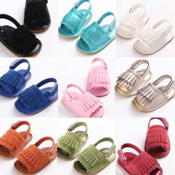 2016 New Summer Style Baby Moccasins Soft Bottom Fringe Candy Color Girls Toddler Shoes Baby Slippers Boys prewalkers