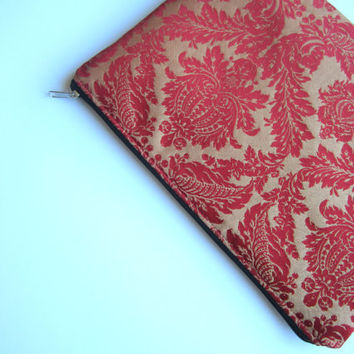 Red damask sleeve 11 with zipper, MacBook Air 11 sleeve, MacBook Air 11 case, MacBook Air 11 Cover, Laptop Sleeve Case, MacBook case
