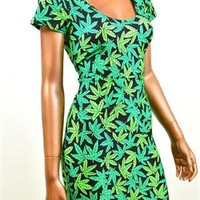 Pot Weed Marijuana Print Short Sleeve Bodycon Dress