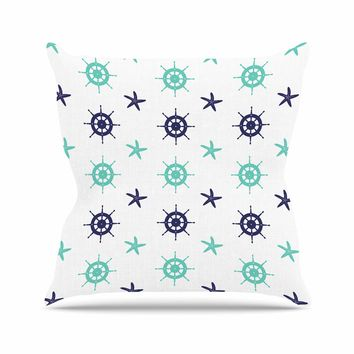 """afe images """"Helm Wheel & Starfish"""" Blue Teal Illustration Outdoor Throw Pillow"""
