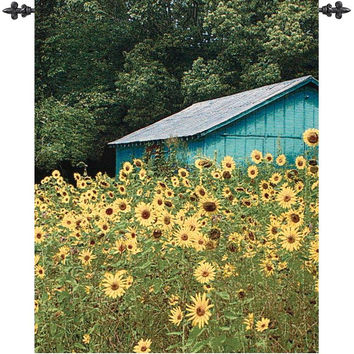 At the Sunflower Farm Wall Hanging Tapestry