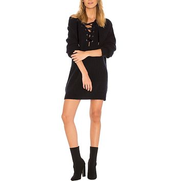 Nicole Lace Front Sweater Dress