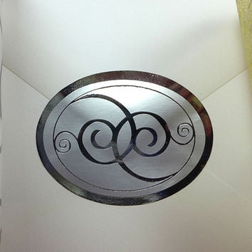 "250pk Silver Oval 2-1/2"" x 1"" SILVER SCROLL Decorative Wedding Invitation Stickers"