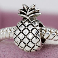 New Alloy Bead Charm European Vintage Cute Ananas Pineapple Silver Beads Fit Women Pandora Bracelet & Bangle DIY Jewelry YW15185