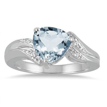 2.25 Carat Trillion Cut Aquamarine and Diamond Ring in 10K White Gold
