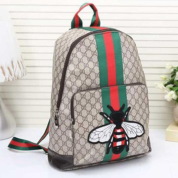 Gucci Women Fashion Leather Bee Flower Embroidery School Bookbag Backpack