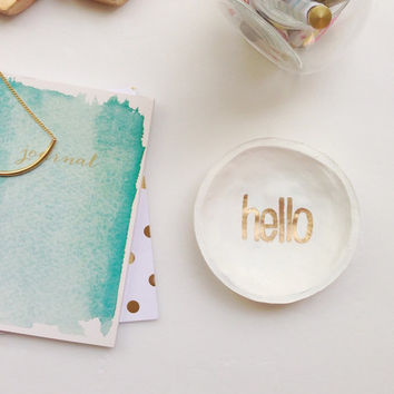 "White and Gold Jewelry Dish/ ""Hello"" jewelry dish"