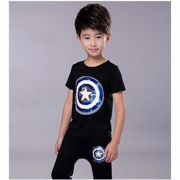 5fd1da8d Punk Hipster T-shirt Boy Clothing Sets Cotton Spiderman Boys Set