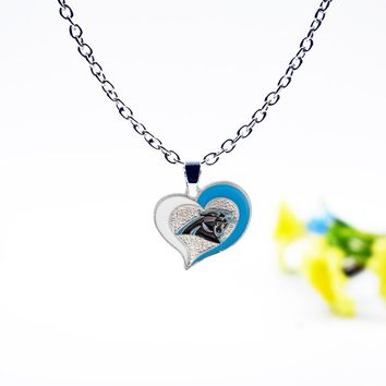 Sell Well Personality Fashion Sports Necklace Jewelry Football Carolina Panthers Charm Dangle Enamel Simple Necklace Jewelry