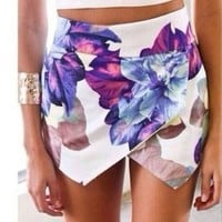 Moxeay Vogue Women's High Waisted Sexy Purple Falbala Print Hot Pant Casual Shorts (S)