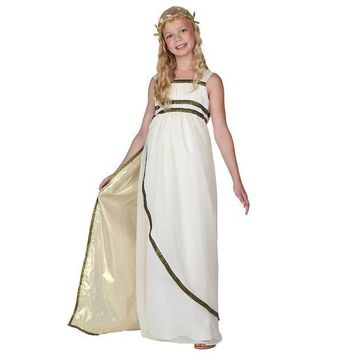 LMFON Child Ethereal Athena Olympic Goddess Costume Greeks Historical Fancy Dress