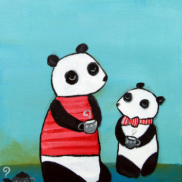 Kids Wall Art, Panda Tea Party Nursery Decor