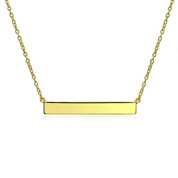 Sideway Bar Necklace Silver, Rose Gold Plated 925 Sterling Silver