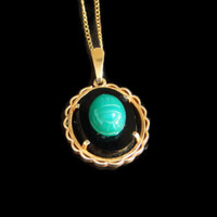 Egyptian Scarab Pendant Necklace Green Beetle on Onyx 14K Gold Filled