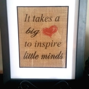 Big Heart To Inspire Little Minds, Personalized Teacher Gift, Teacher Appreciation Gift, Teacher Christmas Gift, Unique Teacher Gift