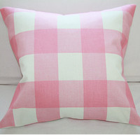 Pink on Pink Large Plaid Pillow Cover 18x18 Envelope
