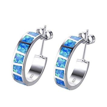 AUGUAU RongXing Jewelry New 925 Sterling Silver Whtie Blue Laboratory Opal Party Hoop Stud Earrings White CZ Engagement Girls Birthday Stone Earrings