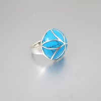 Sterling Turquoise Inlay Ring. Southwestern Sterling Silver Turquoise Domed Ring.