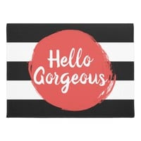 Red Paint Hello Gorgeous Black and White Striped Doormat