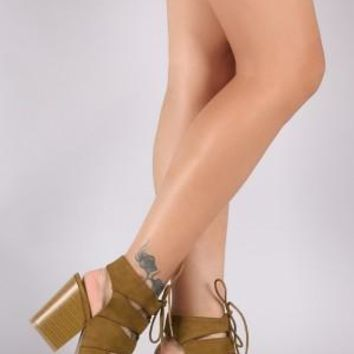 Qupid Suede Slit Cutout Lace Up Chunky Heel
