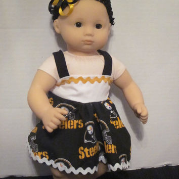 "Bitty Baby American Girl Doll Dress From Steelers Fabric 15"" Dolls Doll Clothes Doll Accessories By Sweetpeas Bows & More"