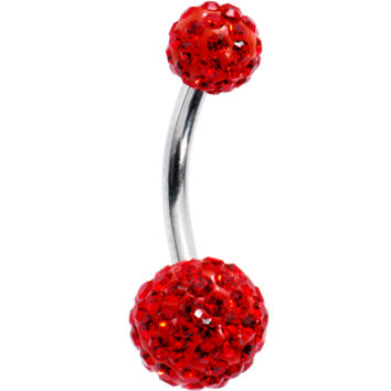 Red Preciosa Crystal Evolution Belly Ring | Body Candy Body Jewelry