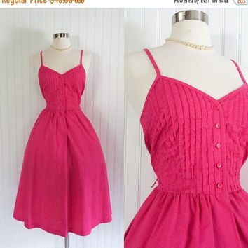 25% OFF 1970s does 50s hot pink cotton Lanz vintage midi dress //  pleated sweetheart bodice // pockets // size XS 32 bust