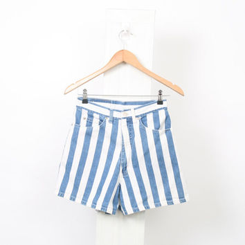 STRIPE Denim 90s Vintage Womens Au 8 10 US 4 6 High Waisted Stonewash White Light Blue Chambray 80s Hotpants Shorts