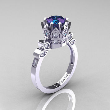 Classic Armenian 14K White Gold 1.0 Alexandrite Diamond Bridal Solitaire Ring R405-14KWGDAL