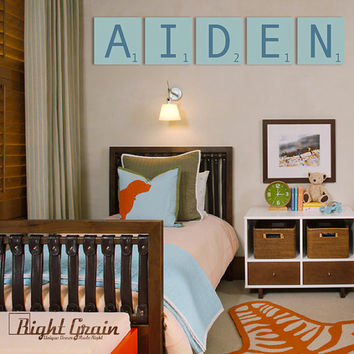 Kids Room Decor - Giant Scrabble Letters - You Pick Colors - FIVE 12x12 Tiles
