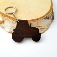 Tractor Wooden Keychain, Farmer Keychain, Walnut wood, Environmental Friendly Green materials