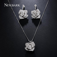 NEWBARK Love Rose Flower Jewelry Sets Women Silver Color Snake Chain CZ Diamond Necklace Pendants Earrings Chirstmas Gift
