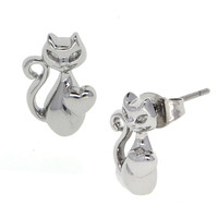 Dear Deer White Gold Plated Cat in Love Stud Earrings