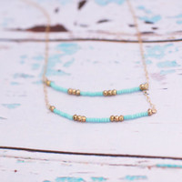 Double Strand Mint and Gold Necklace