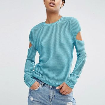 ASOS | ASOS Jumper In Ripple Stitch With Slash Sleeves at ASOS