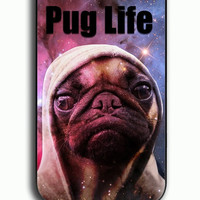 iPhone 4S Case - Rubber (TPU) Cover with Funny Pug Life On Galaxy Rubber Case Design