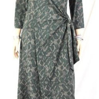 J Jill Wrap Dress S M size Green Brown Heavy Rayon Spandex Stretch Knit Womens