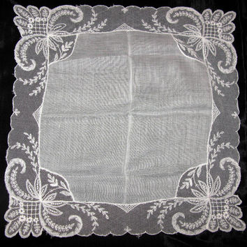 Wedding Embroidered Hankerchief Lace Handkerchief Delicate Lace Antique