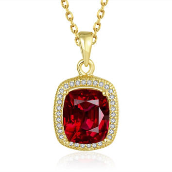 Gold Plated Ruby Gem Pendant Necklace
