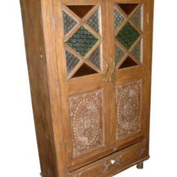 Antique Armoire Rustic Bedroom Decor Hand Carved Storage Cabinet Indian Furniture