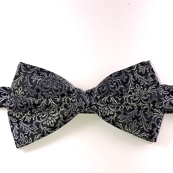 Black and Silver Paisley Bow Tie