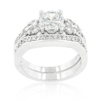 Bella Triple Stone Engagement and Wedding Ring Set | 4ct | Cubic Zirconia