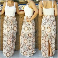 ST. BARTS LACE CHIFFON MAXI DRESS