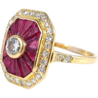 Faceted rubies bezel set brilliant cut diamond French Deco ring in stamped 18K solid gold, fine 1930s gold jewelry