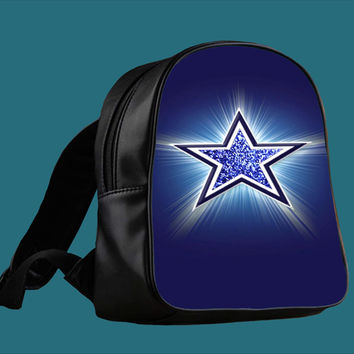 logo dallas cowboys blue glitter sparkle Design for Backpack / Custom Bag / School Bag / Children Bag / Custom School Bag *