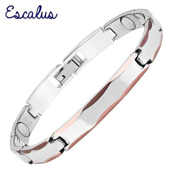 Escalus Bio Healing Charm Silver Color Germanium Women Bracelet Health Magnetic Tungsten Bracelet Wristband Bangle jewelry