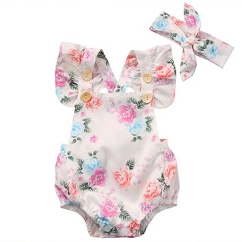 Cotton Flower Romper Sunsuit+Headband Outfits Set